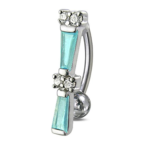 (Light Blue Crystal Stone Fancy Reverse Bar Design 925 Sterling Silver with Stainless Steel Belly Button Navel Rings)