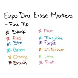 EXPO Low-Odor Dry Erase Markers, Fine Tip, Assorted Colors, 36 Count