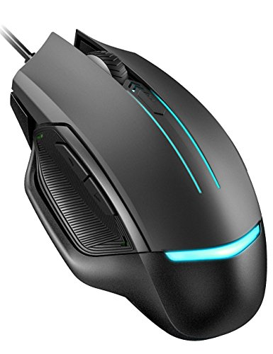 Pictek Gaming Mouse Wired, 3200 DPI, 6 Programmable Buttons (Driver Disk Included), Optical Gamer Gaming Mice with 7 Breathing Lights, Ergonomic Anti-Slip Structure for PC, Computer & Laptop, Black