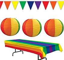Rainbow Tablecover Lanterns Pennant Banner Birthday Party Decorations Supplies Colorful Celebration Gay Pride Event