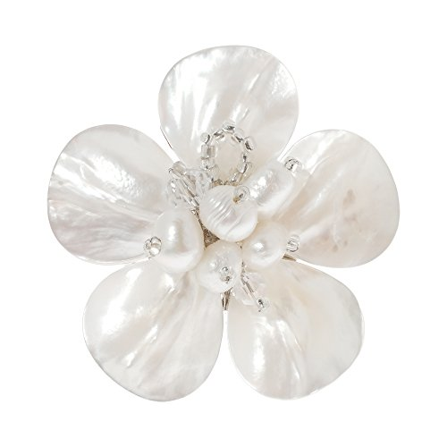 Pearl Daisy Ring - AeraVida White Mother of Pearl & Cultured Freshwater Pearl Sweet Daisy Adjustable Ring