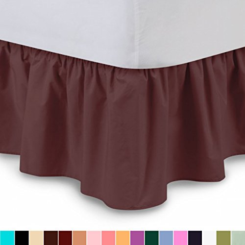 Burgundy King Ruffle (Ruffled Bed Skirt (King, Burgundy) 14 Inch Drop Dust Ruffle with Platform, Wrinkle and Fade Resistant - by Harmony Lane (Available in all bed sizes and 16 colors))