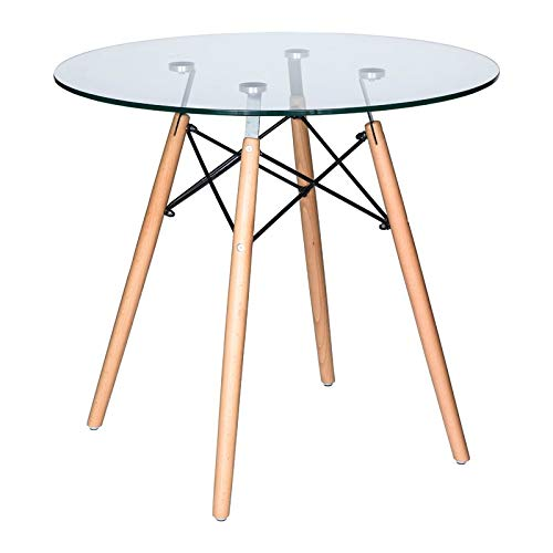 Ivinta Modern Round Glass Dining Table Coffee Table for Living Room Dining Room Kitchen (For Tables Kitchen Round Glass)