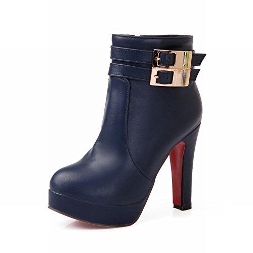 Carol Shoes Women's Fashion Modern High Heel Buckles Platform Chukka Boots Blue SfuLQ