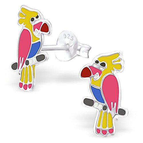 JAYARE® Boucles d'oreilles Enfants perroquets oiseaux 12 x 7 mm Email argent sterling 925 multicolore avec étui de cadeau clou d'oreilles fille