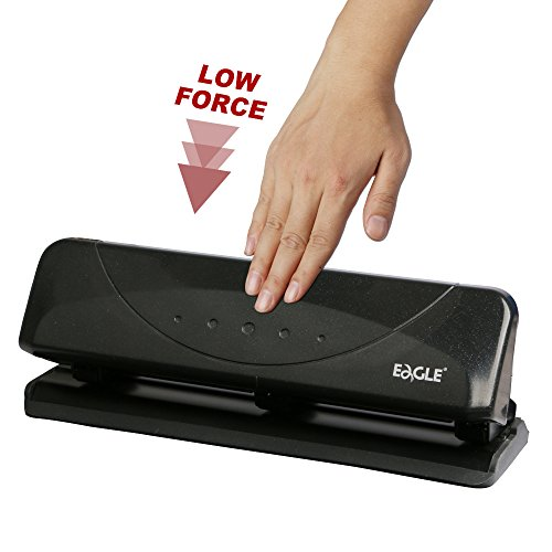 Capacity Three Hole Punch (Eagle Desktop 3-Hole Punch, Low Force, 20 Sheets Capacity)