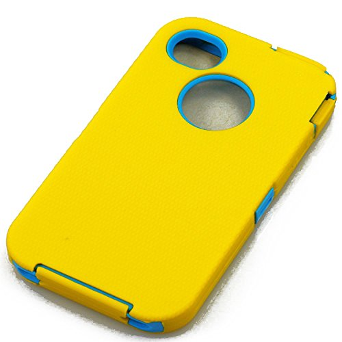 myLife (TM) Yellow + Sky Blue Urban Armor (Built In Screen Protector) Hybrid Toughsuit Case for iPhone 4/4S (4G) 4th Generation Touch Phone (Thick Silicone Outer Shockproof Gel + Tough Rubberized Internal Shell)