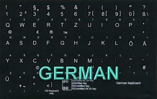 GERMAN NON-TRANSPARENT KEYBOARD STICKER BLACK BACKGROUND