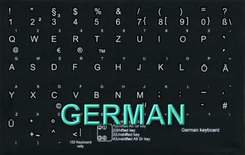 GERMAN NON-TRANSPARENT KEYBOARD STICKERS ON BLACK BACKGROUND