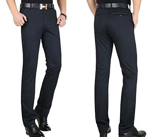 Men's Straight-Fit Wrinkle-Free Stretch Pants by Wxian Men's