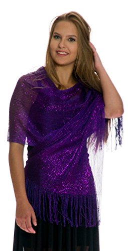 Shawls and Wraps for Evening Dresses, Wedding Shawl Wrap Fringes Scarf for Women Dark Purple Petal Rose