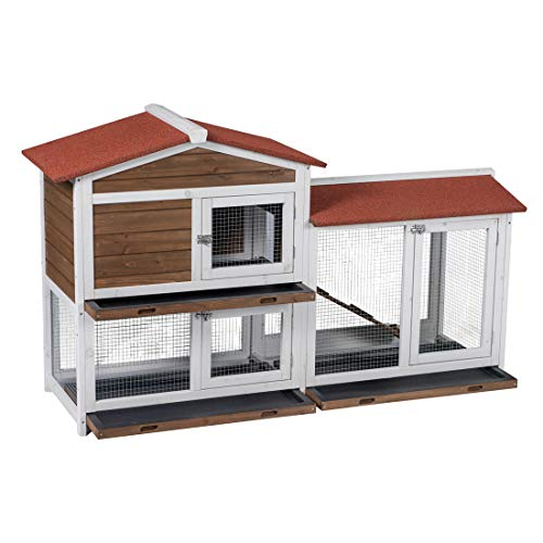 Good Life Two Floors Wooden Outdoor Indoor Roof Waterproof Bunny Hutch Rabbit Cage Guinea Pig Coop PET House for Small to Middle Animals with Stairs and 3 Cleaning Tray