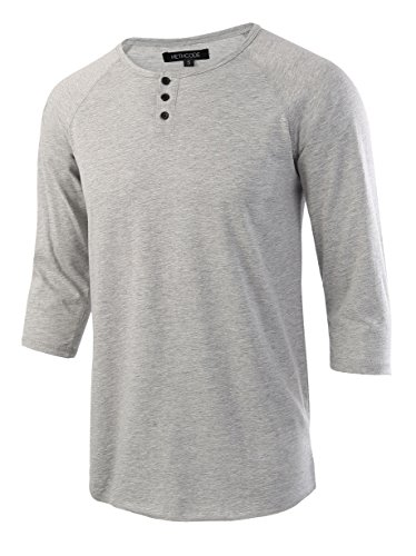 HETHCODE Men's Casual Raglan Fit Soft Baseball 3/4 Sleeve Henley T-Shirts Tee Heather Gray M