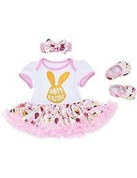73dcfdfdd007 Newborn Baby Girls Cotton 2 3 4pcs Set My 1st Easter Bunny Eggs Romper