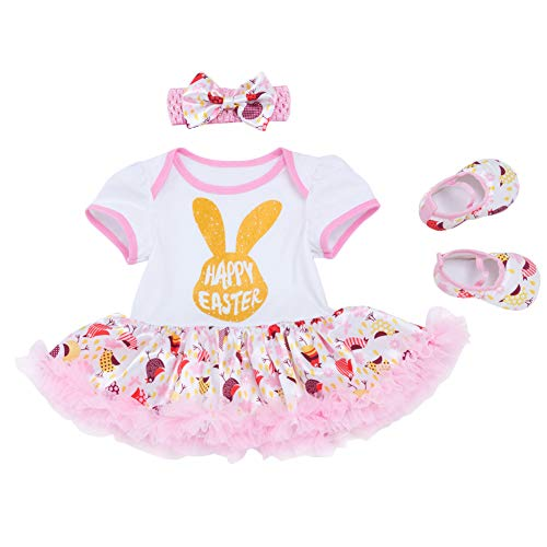 Newborn Baby Girl Cotton 3pcs Set My 1st Easter Eggs Rabbit Bunny Romper Tutu Dress Outfit Short Sleeve Birthday Cake Smash Bodysuit Jumpsuit Playsuit Leg Warmer Shoes Photo Shoot #Pink 3-6 Months