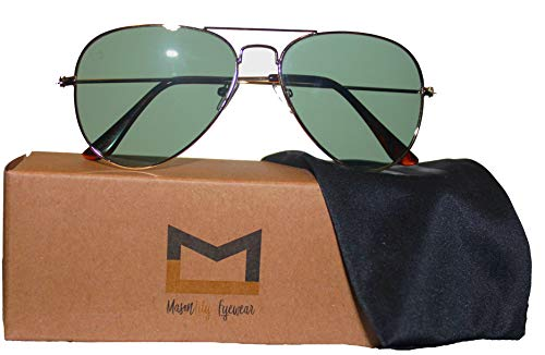 Polarized Aviator Sunglasses for Men and Women with UV400 protection by MasonLily Eyewear (Yellow Gold, Green G15) (Sonnenbrille Aviator Schwarz)