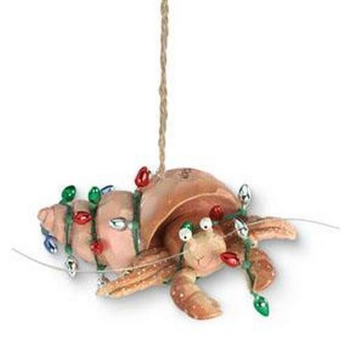 Beachy Coastal Holiday Hermit Crab with Lights Christmas Ornament