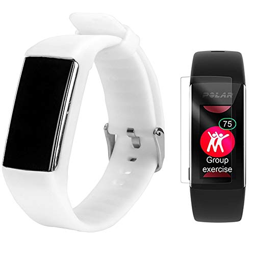 TUSITA Band for Polar A360 A370 - Silicone Replacement Strap Bracelet Wristband with Screen Protector - Smart Watch Accessories(White) (Polar Loop Best Price)