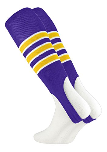 MadSportsStuff Pattern D Baseball Stirrups By (Purple/Gold/White, (Purple Striped Team Colors)