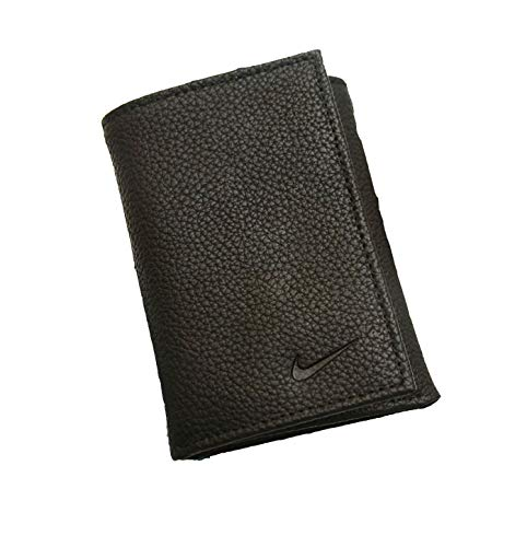Island Dott - Nike Golf Men's Genuine Leather Pebble Trifold Wallet, Black