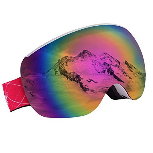 Unigear OTG Ski Goggles, Over Glasses Snowboard Snow Spherical Anti-fog Goggles for Men & Women with Interchangeable lens and 100% UV400 Protection, Portable Box Included