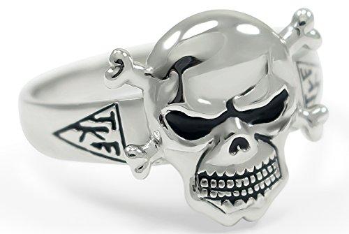 Tau Kappa Epsilon Sterling Silver Skull Ring with TKE House Plates (13.0)
