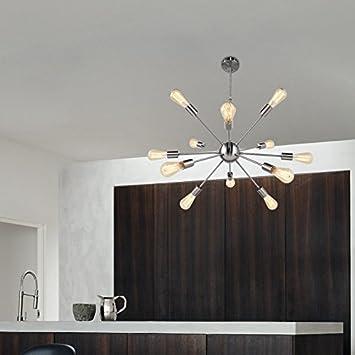 Modern Sputnik Chandelier 12 Lights Mid Century Pendant Lighting Ceiling Lights Fixture Brushed Nicke by CHITBIT