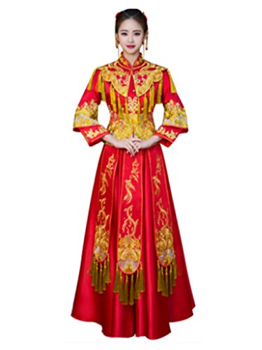 Stereo Embroideries Show Wo Dress Chinese Wedding Dress Wedding Cheongsam Tang Suits Full Dress by YY-Bride Wedding Cheongsam
