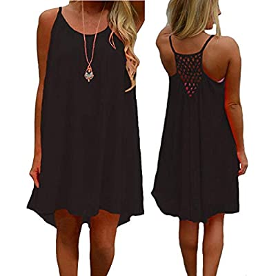 suielve Women's Summer Casual Sundress Chiffon Sleeveless Tank Dress Beach Cover up, Black, X-Large: Ropa y accesorios