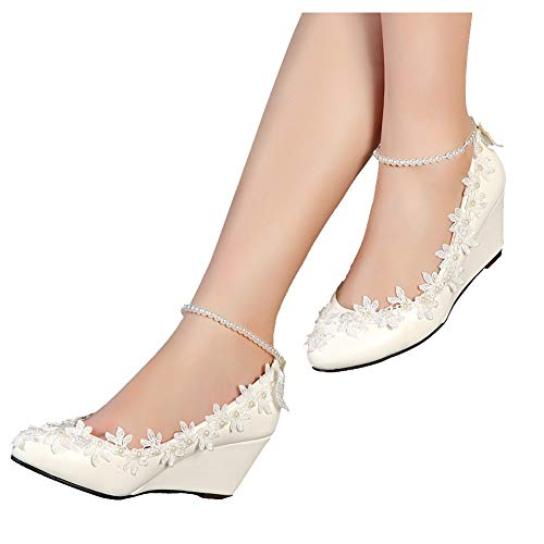 getmorebeauty Women's Wedge Flowers Pearls Mary Janes Wedding Bridal Shoes 6 B(M) US White