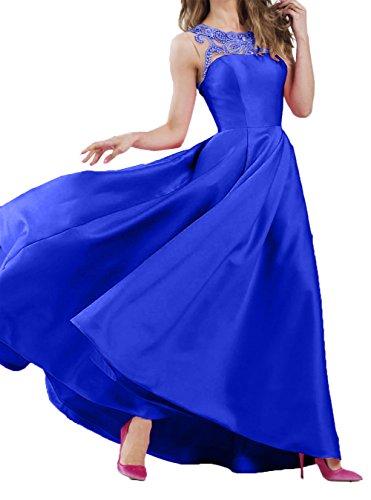 Abendkleider A Langes Promkleider Charmant Royal Satin Damen Festlichkleider Blau Neu Ballkleider Linie Partykleider 2018 wwXzAI