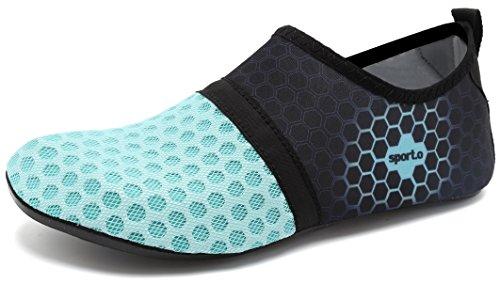 Schwimmen Pool Strand Damen üben Sportschuhe Herren L Wasser Barfuß Aqua adituob für blau Socken 0XYqYv