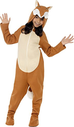Smiffy's Children's Unisex All In One Fox Costume, Jumpsuit with Tail and Ears, Party Animals, Ages 7-9, Size: Medium, Color: Brown, 44074