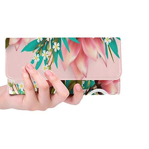Unique Custom Aloha Hawaii Hand Lettering Hibiscus Pink Women Trifold Wallet Long Purse Credit Card Holder Case Handbag