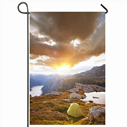 Ahawoso Garden Flag 12x18 Inches Trek Adventure Tent Near Canyon Parks Mountaineering Sports Recreation Backpacking Camp Europe Grass Decorative Seasonal Double Sided Home House Outdoor Yard Sign