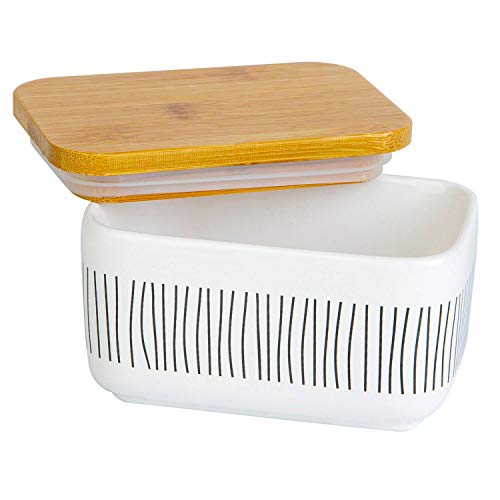 Arswin Butter Dish with Lid, Stripe Design Porcelain Keeper with Sealed Bamboo Cover, Covered Butter Container for Countertop and Refrigerator, Easy Clean Kitchen Storage Box, White (300ml Stripe)