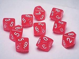 Dice Sets: Vortex Dice Red & White - Ten Sided Die d10 Set (10) - OOP