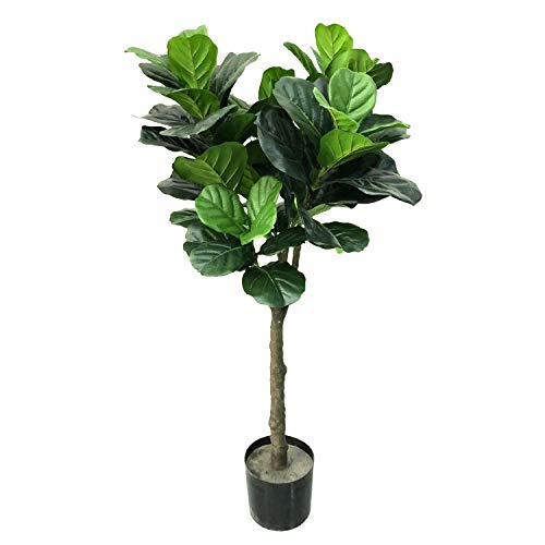 BESAMENATURE 4-Feet RTA Artificial Fiddle Leaf Fig Tree, Potted Artificial Plant for Home Decor, Green