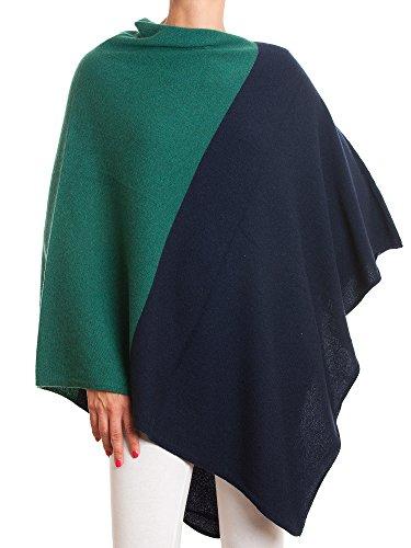 Dalle bi Femme Piane 100 Poncho cachemire Cashmere Bleu couleur RqnRtrBAw