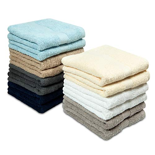 Cotton Craft - 14 Pack Multi Color Hand Towels - 100% Ringspun Cotton - 16x28 - Light Weight 450 Grams - Quick Drying and Highly Absorbent - Colors - Ivory, Light Blue, White, Linen, Mercury, Charcoal