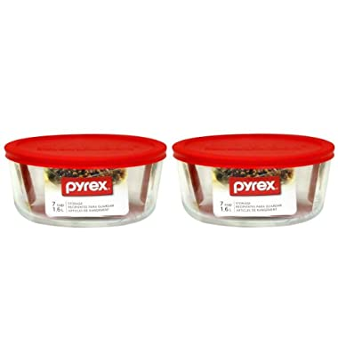 Pyrex Storage Plus 7-Cup Round Storage Dish with Red Plastic Cover Pack of 2 Containers