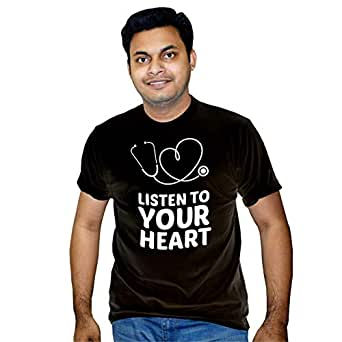 FMstyles Listen to your heart Black unisex tshirt - FMS279