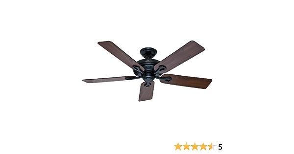 Hunter 53104 The Savoy 52-Inch Matte Black Ceiling Fan with Five Walnut//Light Cherry Blades