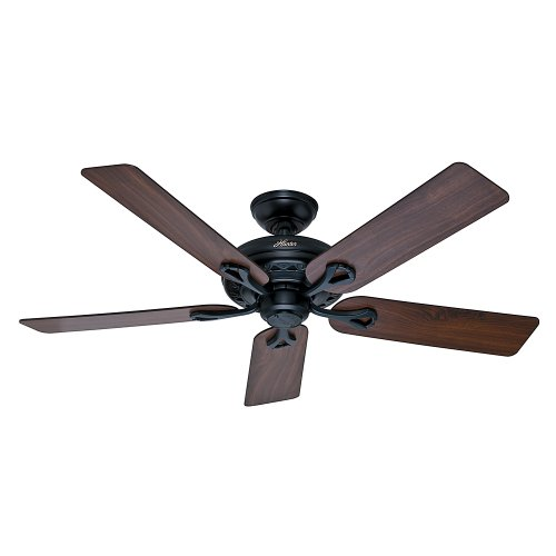 Hunter Fan Company 53104 The Savoy 52-Inch Matte Black Ceiling Fan with Five Walnut/Light Cherry Blades by Hunter Fan Company