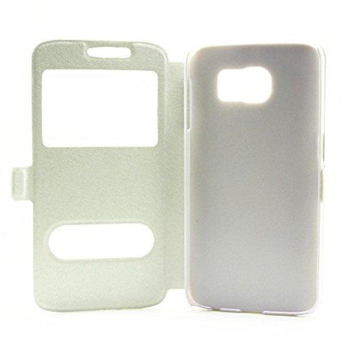 Carcasas y fundas Móviles, Para Samsung Galaxy S6, color sólido PU cuero con soporte doble ventana abierta patrón de seda funda protectora para Samsung Galaxy S6 (responder o rechazar llamadas sin abr White