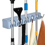 Auwey Broom Mop Holder Wall Mount with Hook Gripper Slot, Garden Storage Rack Mop Broom Handle Kitchen Storage Garage Garden Tools Commercial Organizer Grey (5 Position 6 Hooks)
