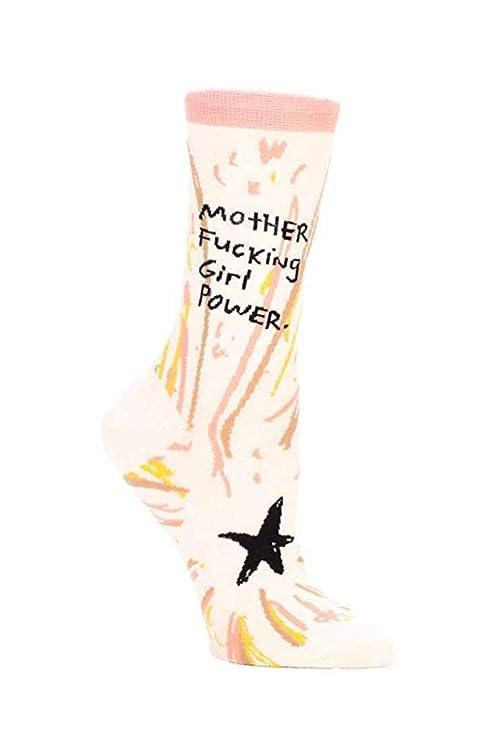 Blue Q Women's Novelty Crew Socks - Mother F'ing Girl Power (Womens Size 5-10)