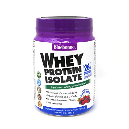 Bluebonnet Nutrition Whey Protein Isolate Powder, Whey From Grass Fed Cows, 26g of Protein, No Sugar Added, Non GMO, Gluten Free, Soy free, kosher Dairy, 1 Lb, 14 Servings, Mixed Berry Flavor