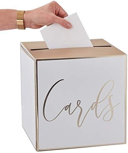 Caja de Dinero/Caja de Cartas/Postales de Boda en Blanco y Dorado – Ideal para Sobres, Tarjetas de Boda y Regalos de Dinero para Bodas, Sobres de cumpleaños, Caja de coleccionistas, Regalos de