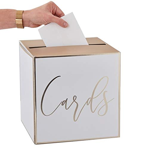 Caja de Dinero/Caja de Cartas/Postales de Boda en Blanco y Dorado ...